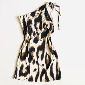 Roberto Cavalli One Shoulder Leopard Mini Dress  L